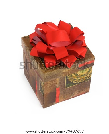 Gift with red bow isolated on white