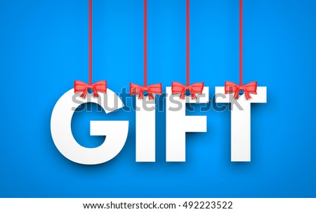 Gift - word hanging on rope. 3d illustration