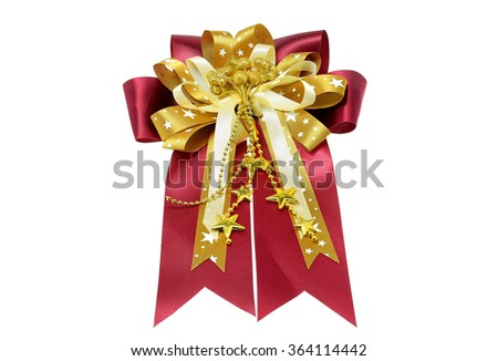 Gift wrapping bow isolated on white background.