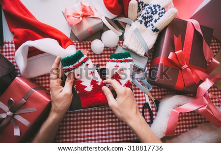 Gift wrapping for Christmas and New Year. - stock photo