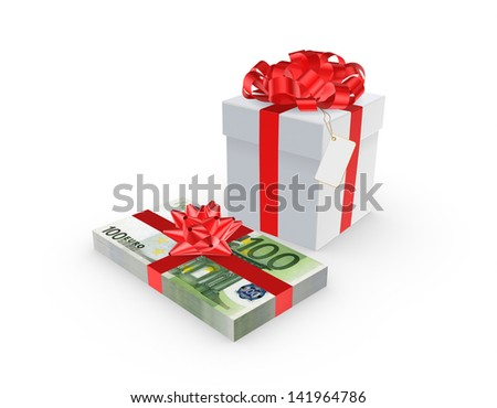 Giftbox and stack of euro.Isolated on white.3d rendered.