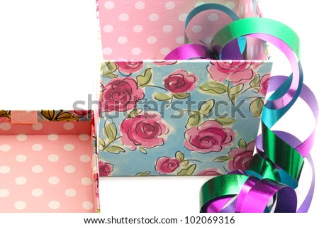 Giftbox, lid and ribbons - stock photo