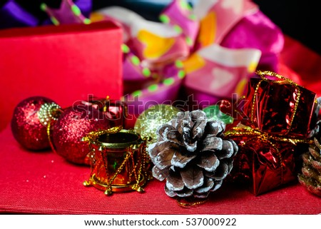 Gifts and Christmas tree ornaments.