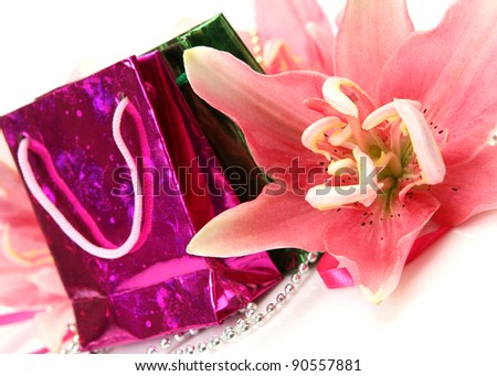 Gifts and pink lilies