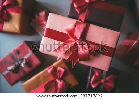 Gifts for holiday top view. Holidays Christmas, birthday, Valentine's Day. - stock photo