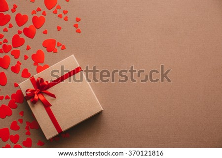 Gifts for lovers on Valentine's Day. Heart background. - stock photo
