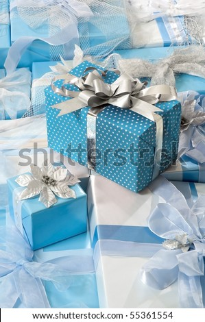Gifts in Blue - stock photo