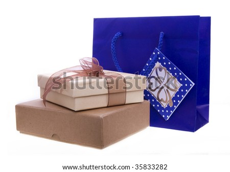 gifts isolated on a white background - stock photo