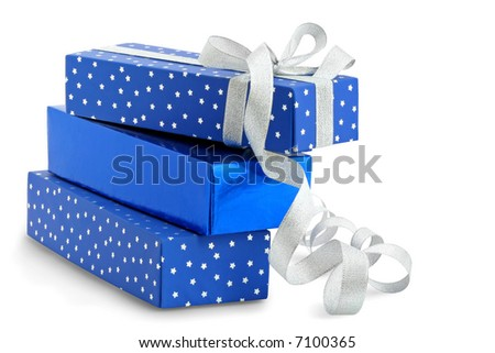 Gifts / isolated / with hand made clipping path - stock photo