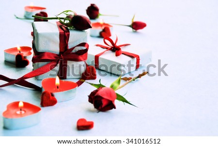gifts, roses, and hearts romantic background for congratulation