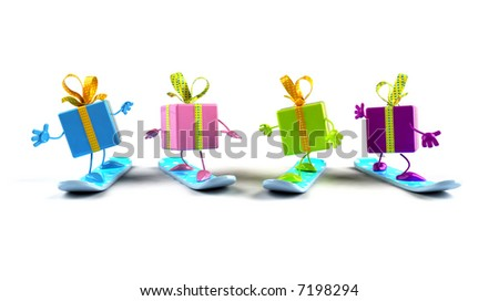 Gifts snowboarding - stock photo
