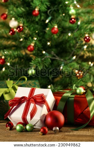 Gifts under the Christmas tree - stock photo