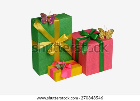 Gifts, unusual of the three boxes with butterflies and colorful ribbons isolated on white background