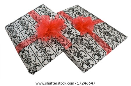 Gifts wrapped elegantly with red ribbons