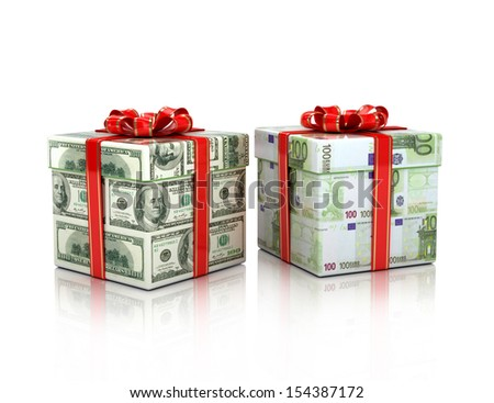 gifts wrapped in dollar and euro bills,3d isolated - stock photo
