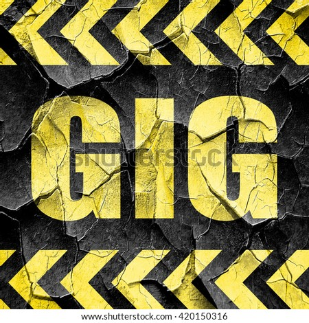 gig, black and yellow rough hazard stripes
