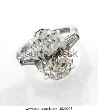 Gigantic 5 Carat Diamond ring with baguettes - stock photo