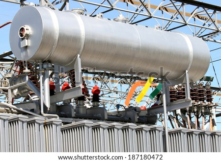 gigantic oil tank in transformer power station for the production of energy
