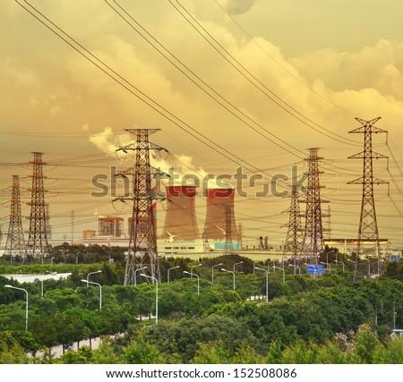 Gigantic power plant - stock photo