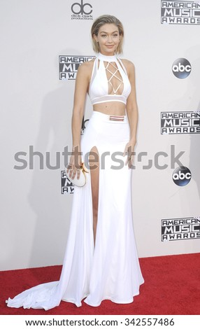 Gigi Hadid at the 2015 American Music Awards held at the Microsoft Theater in Los Angeles, USA on November 22, 2015. - stock photo