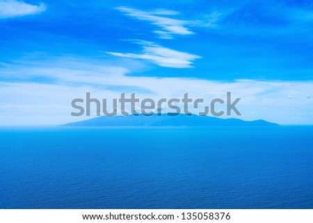 Giglio island aerial view from Argentario. Mediterranean sea. Tuscany, Italy - stock photo