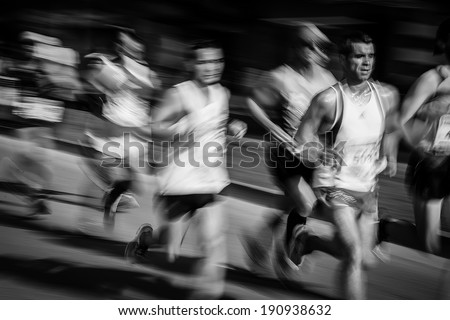 GIJON, SPAIN - MAY 3, 2014: Participants in the annual half marathon in the city of Gijon, Spain, on Saturday, May 3, 2014. - stock photo