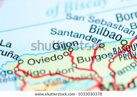 Gijon Spain On Map Stock Photo 1033030378 Shutterstock
