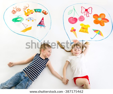 gil and boy different thoughts - stock photo