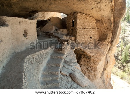 Gila Cliff Dwellings National Monument  ruins - stock photo
