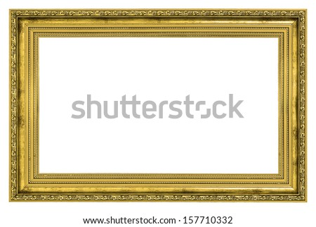 gilded frame with thick border isolated on white background - stock photo