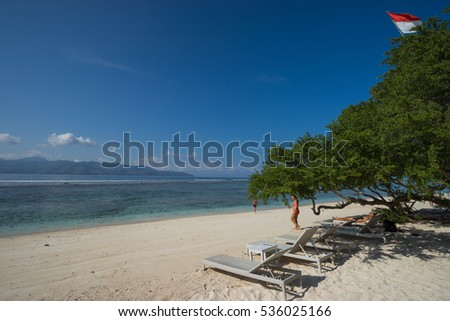 GILI TRAWANGAN, INDONESIA - 20th SEPTEMBER 2016; Gili Trawangan is a paradise of global repute, ranking alongside Bali and Borobudur as one of Indonesia's top destinations for tourism.