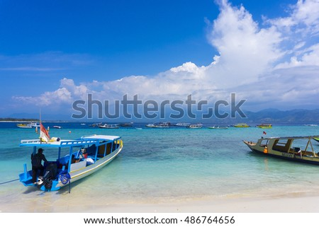 GILI TRAWANGAN LOMBOK, INDONESIA : 17/09/2016 - View of passenger boats from Lombok to Gili Trawangan. It is mean transportation method and tourist attraction spot.