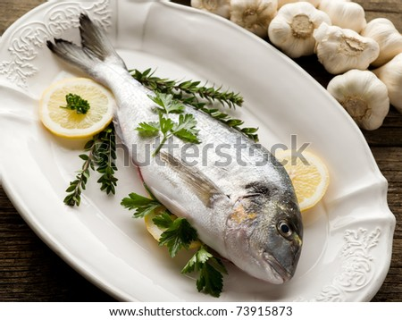 gilt-head over dish ready to cooking - stock photo