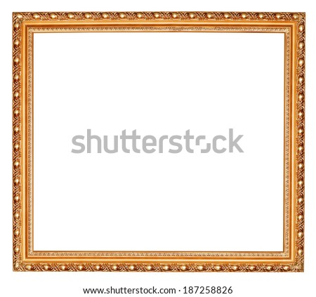 gilted baroque old wooden picture frame with cut out canvas isolated on white background