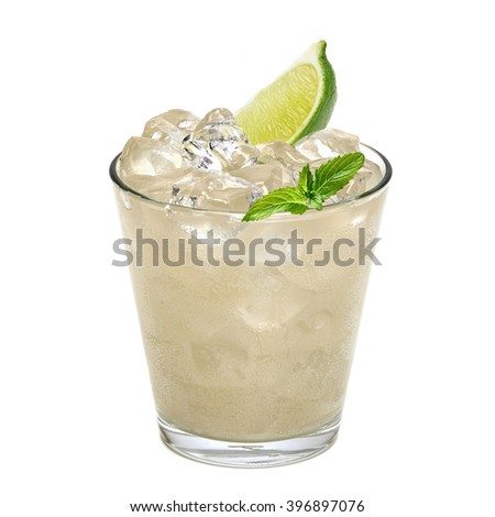 Gin fizz or vodka with lemon wedge and crushed ice in rocks glass on white background - stock photo