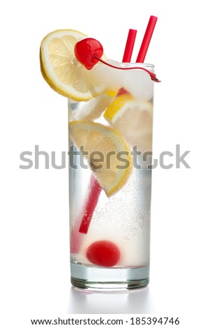 Gin Fizz with two red straws isolated on white background - stock photo