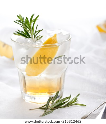 Gin,lemon, rosemary fizz, cocktail with honey and fresh herbs on a white background. - stock photo