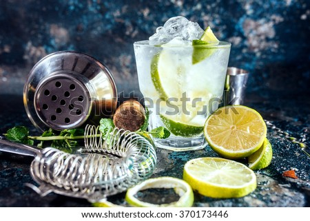Gin tonic alcoholic cocktail with ice and mint. Cocktail drinks served at restaurant, pub or bar - stock photo
