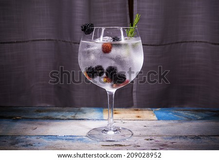 gin tonic with blackberry - stock photo
