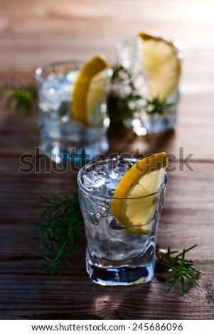 Gin with lemon and juniper branch on a old wooden table - stock photo