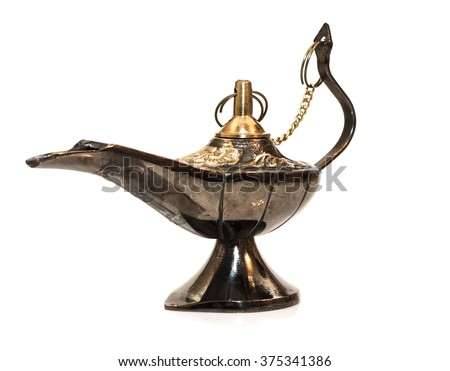 Gina ancient lamp from Agraby African legend on a white background - stock photo