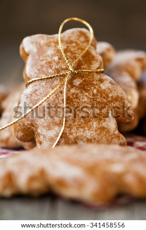 Ginger bread in a shape of a bear - stock photo