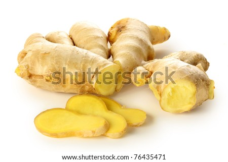Ginger cut in slices  on white background