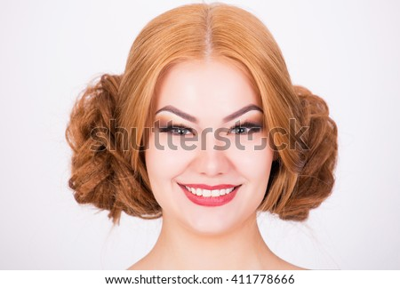 Ginger model with crazy hairstyle, portrait shot - stock photo