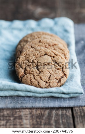 Ginger molasses cookies with crackly top - stock photo