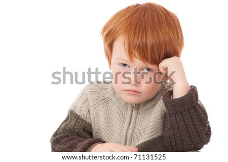 Ginger red hair haired boy sad bored face isolated on white - stock photo