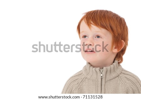 Ginger red hair haired boy staring eyes isolated on white