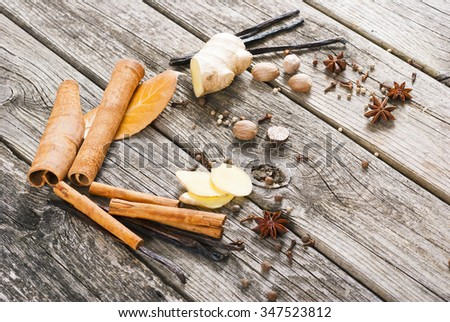 ginger root, cinnamon, vanilla, nutmeg and other spices on old wood table