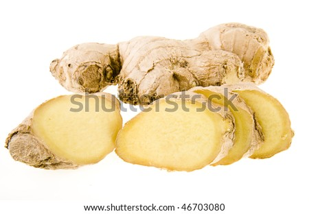 ginger  root  slices  isolated - stock photo