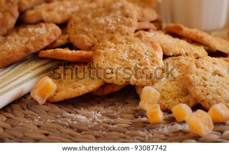 Ginger spiced cookies with coconut slivers
